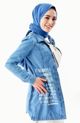 Printed Jeans Jacket 6038-01 Blue Jeans 6038-01