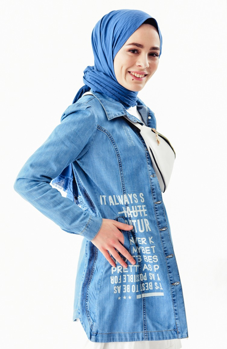 quality design 49e7f 3f112 Bedruckte Jeansjacke 6038-01 Jeans Blau 6038-01