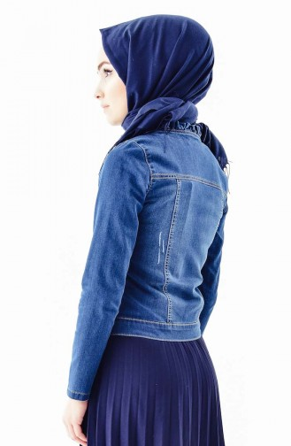 Pocketed Jeans Jacket 6039-01 Navy Blue 6039-01