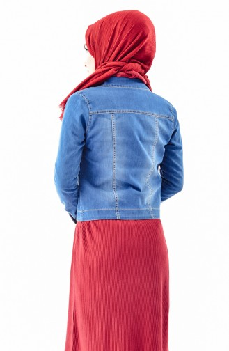 Embroidered Jeans Jacket 6040-01 Blue Jeans 6040-01