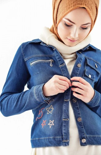 Buttoned Jeans Jacket 6043-01 Navy Blue 6043-01