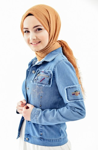 Stone Printed Jeans Jacket 6047-01 Blue Jeans 6047-01