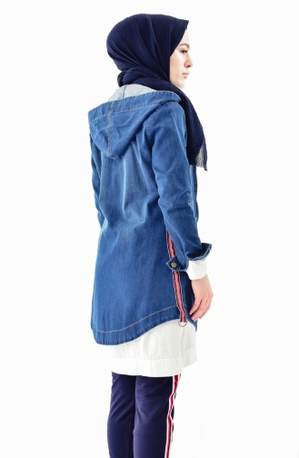 Hooded Jeans Jacket 9256-01 Navy Blue 9256-01