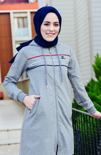 Zippered Tracksuit Suit 95131-01 Gray 95131-01