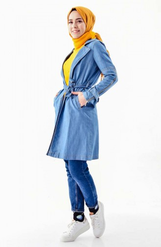 Belted Jeans Cape 6034-01 Blue Jeans 6034-01