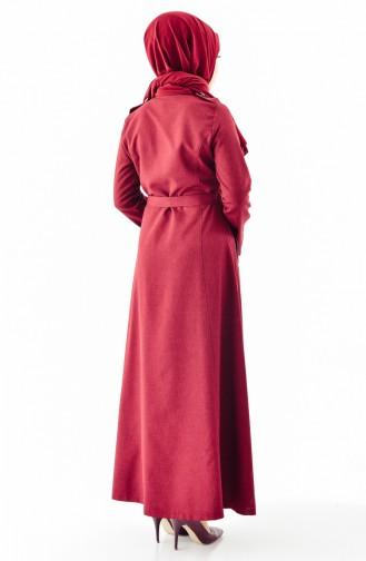 Geknöpfter Hijab Mantel mit Band 61270-02 Weinrot 61270-02