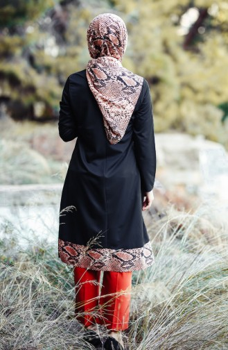 Şallı Yılan Desenli Tunik 2462-03 Somon