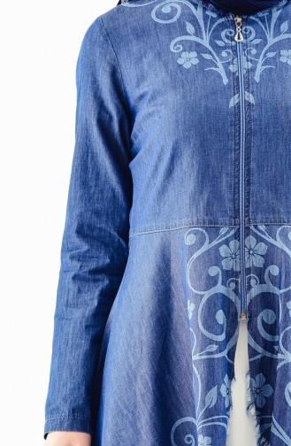 طقم جينز مكون من بنطال وجاكيت  0717-01 لون كحلي 0717-01