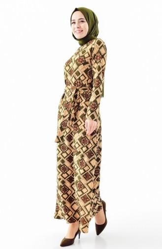دلبر فستان بتصميم حزام للخصر 9150-01 لون اخضر كاكي 9150-01