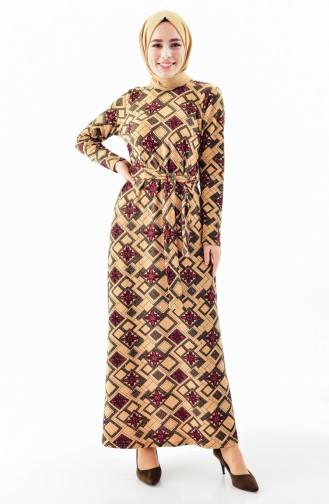 دلبر فستان بتصميم حزام للخصر 9150-02 لون اخضر كاكي وخمري 9150-02