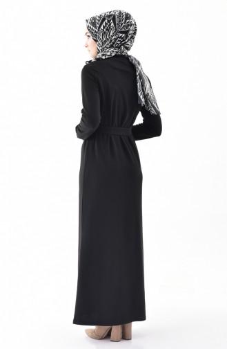 Kuşaklı Çelik Örme Elbise 5212-02 Siyah 5212-02