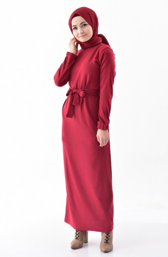 iLMEK Belted Knitted Dress 5212-04 Claret Red 5212-04