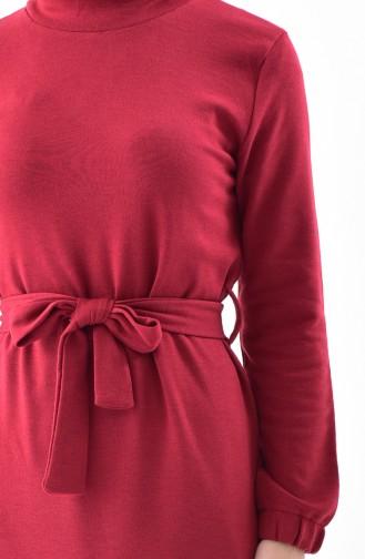 Kuşaklı Çelik Örme Elbise 5212-04 Bordo
