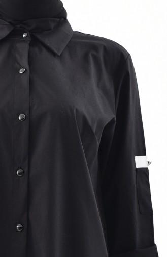 تونيك بتصميم أزرار و بمقاسات كبيرة 3529-01 لون أسود 3529-01