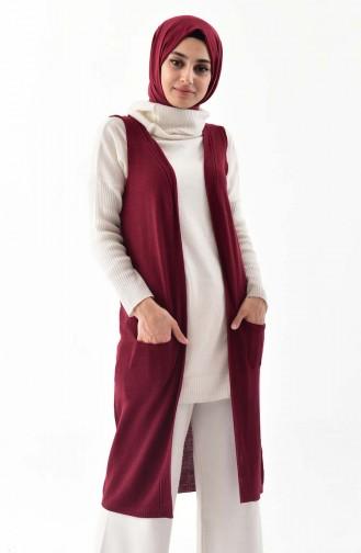 iLMEK Knitwear Pocketed Vest 4116-09 Claret Red 4116-09
