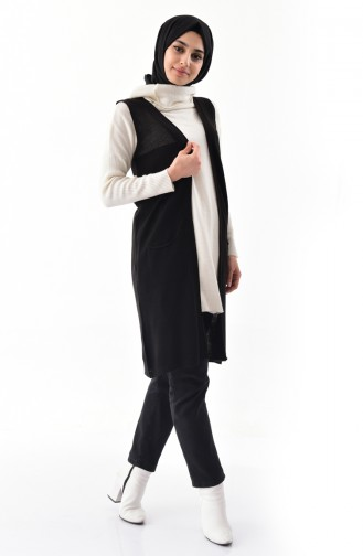 iLMEK Fine Knitwear Pocketed Vest 4120-03 Black 4120-03