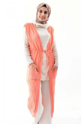 Knitwear Pocket Long Vest 8107-09 Salmon 8107-09
