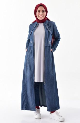 Abaya Jean Bordée 9261-01 Bleu Marine 9261-01