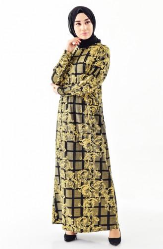 Simli Yarasa Kol Elbise 9979-02 Gold