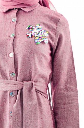 Pullu Kuşaklı Elbise 4409-01 Bordo