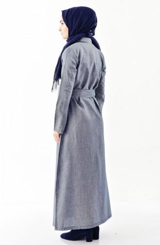 فستان بتصميم حزام للخصر مزين بالترتر 4409-03 لون كحلي 4409-03