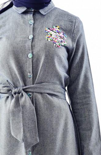 Pailetten Kleid mit Band 4409-03 Dunkelblau 4409-03