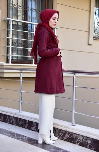 Belted Coat 0871-02 Bordeaux 0871-02
