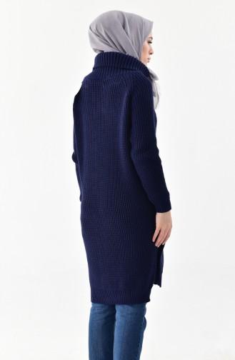 Polo-neck Knitwear Sweater 3872-20 Navy blue 3872-21