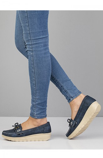 Navy Blue Woman Flat Shoe 11004-01