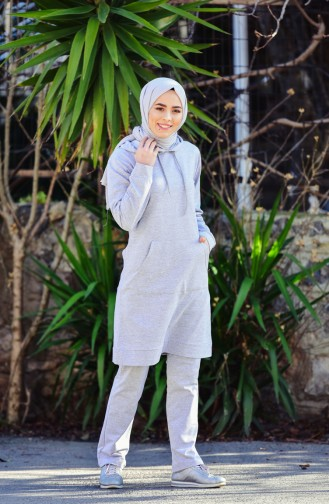 Hooded Tracksuit Suit 18135-03 Gray 18135-03