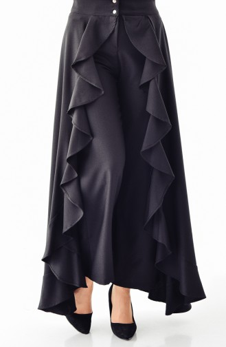 Volanlı Pantolon Etek 31229-01 Siyah
