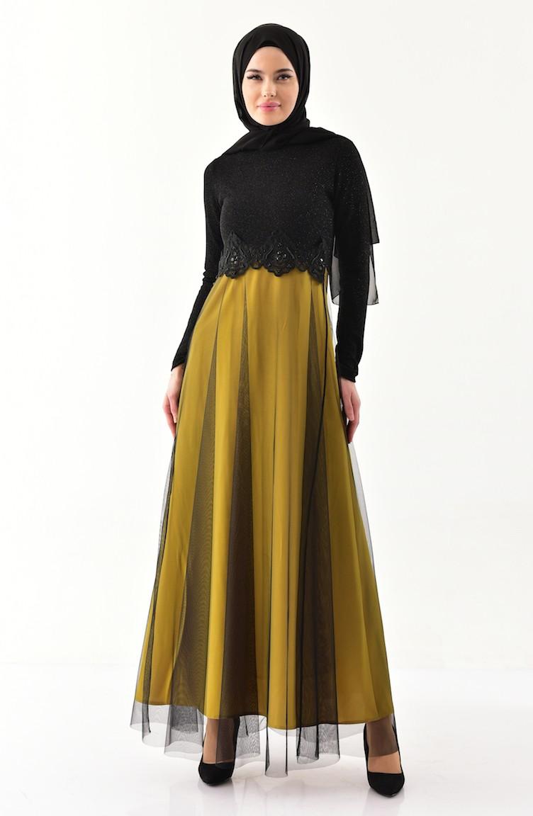 50ddfda3575ca Güpürlü Simli Abiye Elbise 3839-04 Siyah Fıstık Yeşili