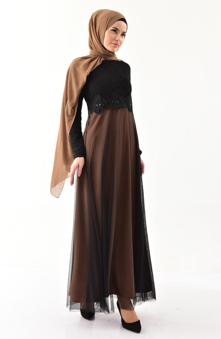 Sefamerve Siyah Camel Güpürlü Simli Abiye Elbise