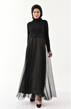2f862155f2059 Sefamerve, Laced Silvery Evening Dress 3839-10 Black Khaki