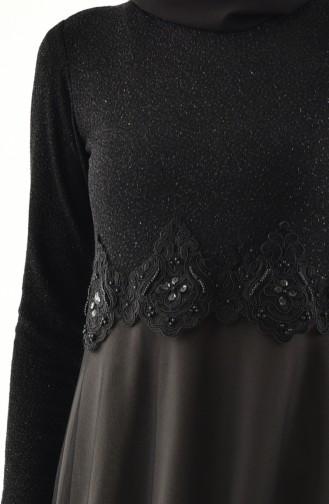 Laced Silvery Evening Dress 3839-10 Black Khaki 3839-10