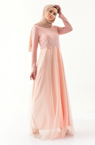 Lace Detailed Evening Dress 3850-01 Powder 3850-01