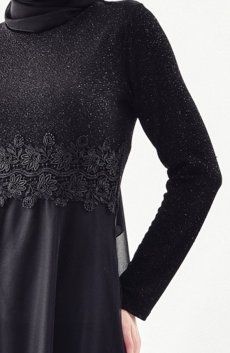 Lace Detailed Evening Dress 3850-02 Black 3850-02