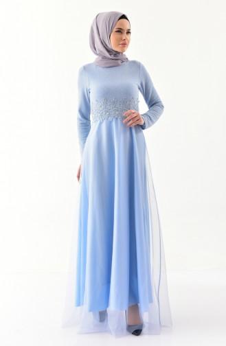 Spitze detaillierte Abendkleid 3850-03 Baby Blau 3850-03