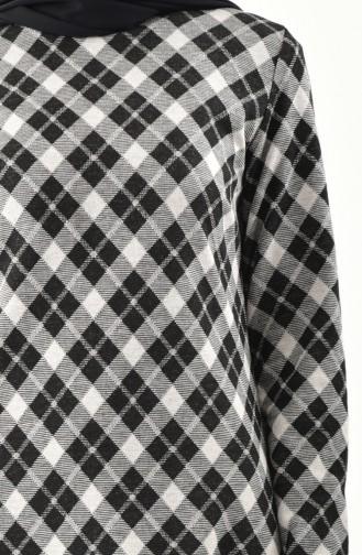 Desenli Elbise 9195-01 Siyah Gümüş