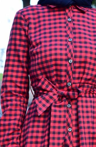 Ekose Desenli Kuşaklı Uzun Tunik 4406-03 Kırmızı