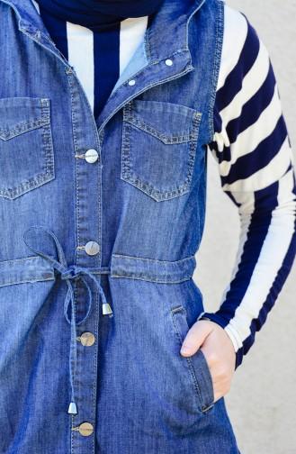 سترة بدون أكمام جينز بتصميم موصول بقبعة 6046-01 لون كحلي 6046-01
