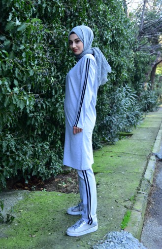 Zippered Tracksuit Suit 10100B-03 Gray 10100B-03