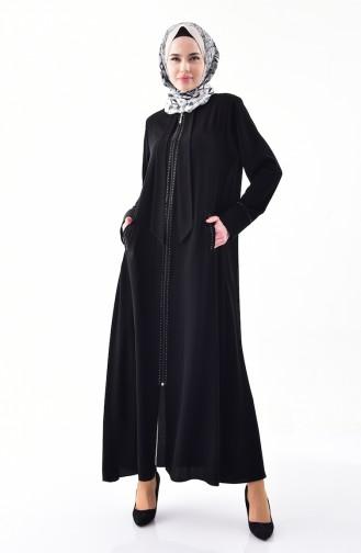 Abaya Pierre Imprimée 0003-01 Noir 0003-01