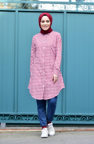 Chequered Tunic 8116-02 Bordeaux White 8116-02