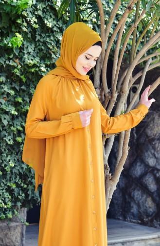 Viscose Buttoned Dress 8119-10 Mustard 8119-10