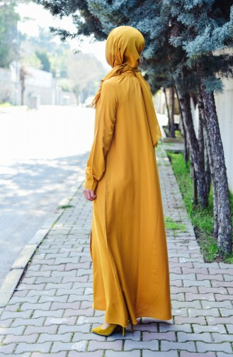 Viscose Long Button Tunic 8120-10 Mustard 8120-10