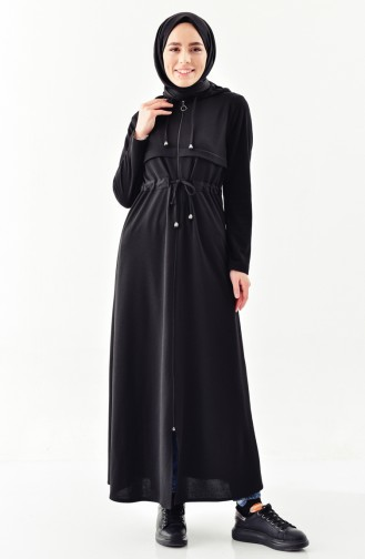 Hooded Zippered Abaya 7915-04 Black 7915-04