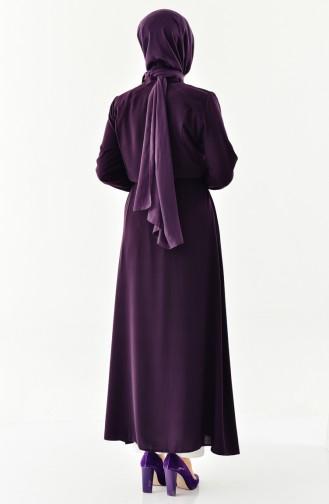 Zippered Abaya 0004-04 Purple 0004-04