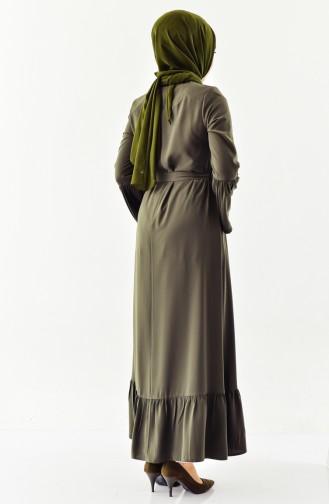 عباءة بتصميم أكمام إسبانية 6011-05 لون أخضر كاكي 6011-05