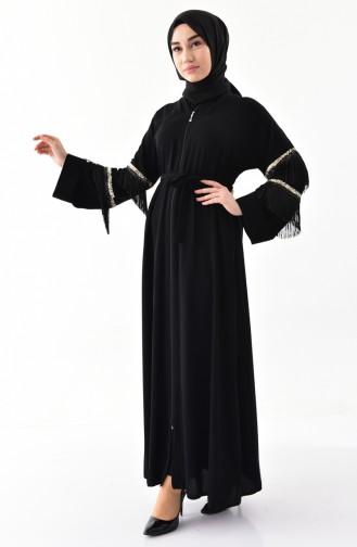 Sequined Tassels Abaya 7818-01 Black 7818-01